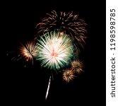 fireworks light up on black... | Shutterstock . vector #1198598785