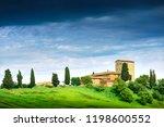 summer landscape with villa.... | Shutterstock . vector #1198600552