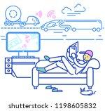 self driving truck. autonomous... | Shutterstock .eps vector #1198605832