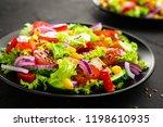 vegetable salad with chicken... | Shutterstock . vector #1198610935