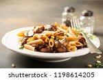 fancy organic whole grain penne ...   Shutterstock . vector #1198614205