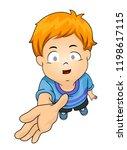 illustration of a blind kid boy ... | Shutterstock .eps vector #1198617115