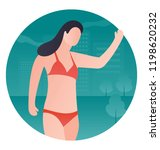 a girl on a beach showing sun... | Shutterstock .eps vector #1198620232
