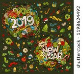 set of 2019 and new year hand... | Shutterstock .eps vector #1198624492