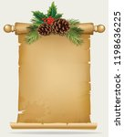 vector branch of christmas tree ... | Shutterstock .eps vector #1198636225