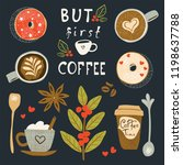coffee poster with illustration ... | Shutterstock .eps vector #1198637788