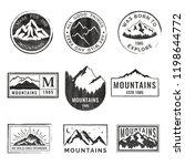 set of nine mountain travel... | Shutterstock .eps vector #1198644772