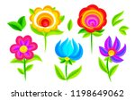 vivid colors decorative flowers ... | Shutterstock . vector #1198649062