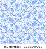 blue painted flowers ornament... | Shutterstock . vector #1198649092