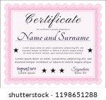 pink certificate template.... | Shutterstock .eps vector #1198651288