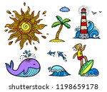 set of colored lineart sticker... | Shutterstock . vector #1198659178
