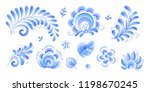 gzhel style flowers and leaves... | Shutterstock . vector #1198670245