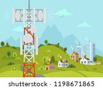 cellular transmission tower in... | Shutterstock .eps vector #1198671865