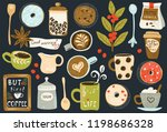coffee big collection in flat...   Shutterstock .eps vector #1198686328