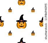 cartoon halloween pumpkin with... | Shutterstock .eps vector #1198694095