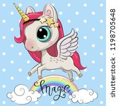 cartoon cartoon unicorn is on... | Shutterstock .eps vector #1198705648