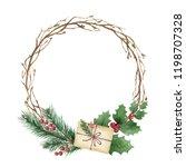 watercolor christmas wreath... | Shutterstock . vector #1198707328