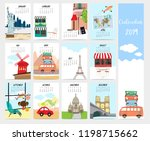 cute monthly calendar 2019 with ...   Shutterstock .eps vector #1198715662