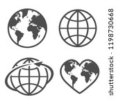 set with icon earth glove on a... | Shutterstock .eps vector #1198730668