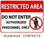 restricted area sign vector... | Shutterstock .eps vector #1198734715