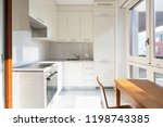 front view modern kitchen with...   Shutterstock . vector #1198743385