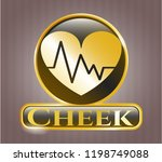 golden emblem with heart with... | Shutterstock .eps vector #1198749088