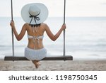 summer vacation concept  happy... | Shutterstock . vector #1198750345