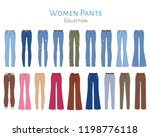women's pants collection ... | Shutterstock .eps vector #1198776118