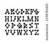 alphabet of bones set 1  the... | Shutterstock .eps vector #1198781605