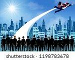 businessmen flying with rocket... | Shutterstock .eps vector #1198783678