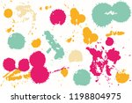 hand drawn set of colorful ink...   Shutterstock .eps vector #1198804975