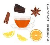 tea set. cup and saucer  tea ...   Shutterstock .eps vector #1198807945