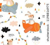 seamless pattern with bears and ... | Shutterstock .eps vector #1198816975