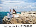 bride and groom hugging posing... | Shutterstock . vector #119881882