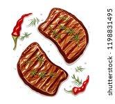 two piece of meat steak. b b q... | Shutterstock .eps vector #1198831495