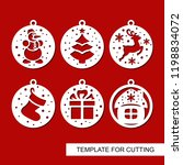 set of christmas decorations  ... | Shutterstock .eps vector #1198834072