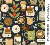 coffee seamless pattern with...   Shutterstock .eps vector #1198835272