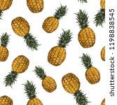 fresh exotic fruit pineapple....   Shutterstock . vector #1198838545
