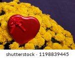 autumn flowers in a pot. yellow ...   Shutterstock . vector #1198839445