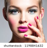 beautiful woman face with blue... | Shutterstock . vector #1198841632