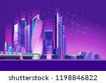 vector neon city  night glowing ... | Shutterstock .eps vector #1198846822