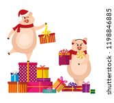 cute pig with gift. christmas...   Shutterstock .eps vector #1198846885