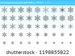 snowflake thin line icons set.... | Shutterstock .eps vector #1198855822