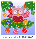 lovely cartoon owl on a spruce... | Shutterstock .eps vector #1198863445