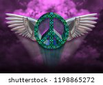 flying peace sign   Shutterstock . vector #1198865272