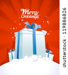 Christmas card design template with big gift boxes. - stock vector