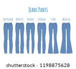 jeans pants collection  sketch... | Shutterstock .eps vector #1198875628