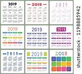 calendar 2019. colorful set.... | Shutterstock .eps vector #1198885942