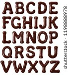 latin alphabet made of melted... | Shutterstock . vector #1198888978