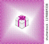 gift box with ribbon and bow on ... | Shutterstock . vector #1198889338